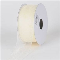 "RO-86-25 Ivory sheer organza ribbon. 1 1/2"" x 25yds"
