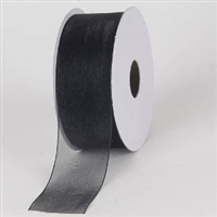 "RO-90-25 Black sheer organza ribbon. 1 1/2"" x 25yds"