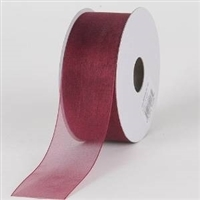 "RO-94-25 Burgundy sheer organza ribbon. 1 1/2"" x 25yds"