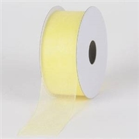 "RO-96-25 Lt. Yellow sheer organza ribbon. 1 1/2"" x 25yds"