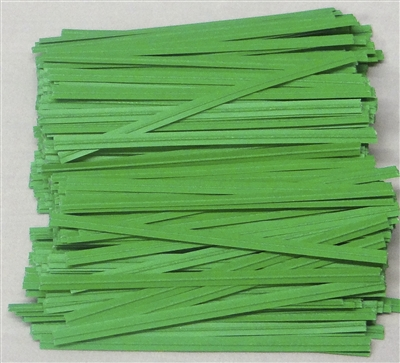 "TP-03 Green paper twist tie. 3 1/2"" Length Quantity 2,000"