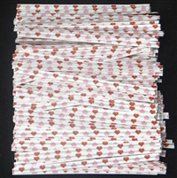 "TTP-10-100 Printed Paper Red/Pink Hearts twist tie. 3 1/2"" Length Quantity 100"
