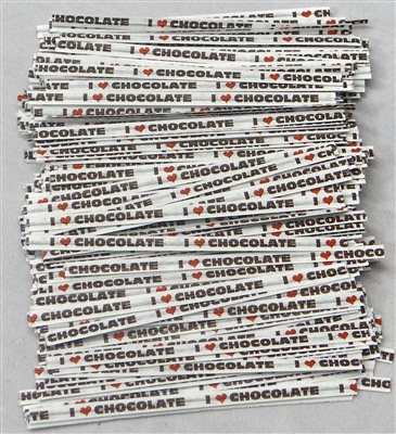 "TTP-11-100 Printed Paper I (heart) chocolate twist tie. 3 1/2"" Length Quantity 100"