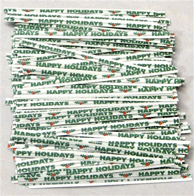"TTP-14-100 Printed Paper ""Happy Holidays"" twist tie. 3 1/2"" Length Quantity 100"