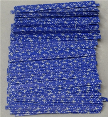 "TTP-15 Printed Paper Snowflakes on blue twist tie. 3 1/2"" Length Quantity 2000"