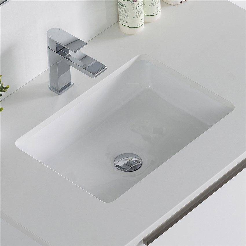 White Porcelain Undermount Sink Basin