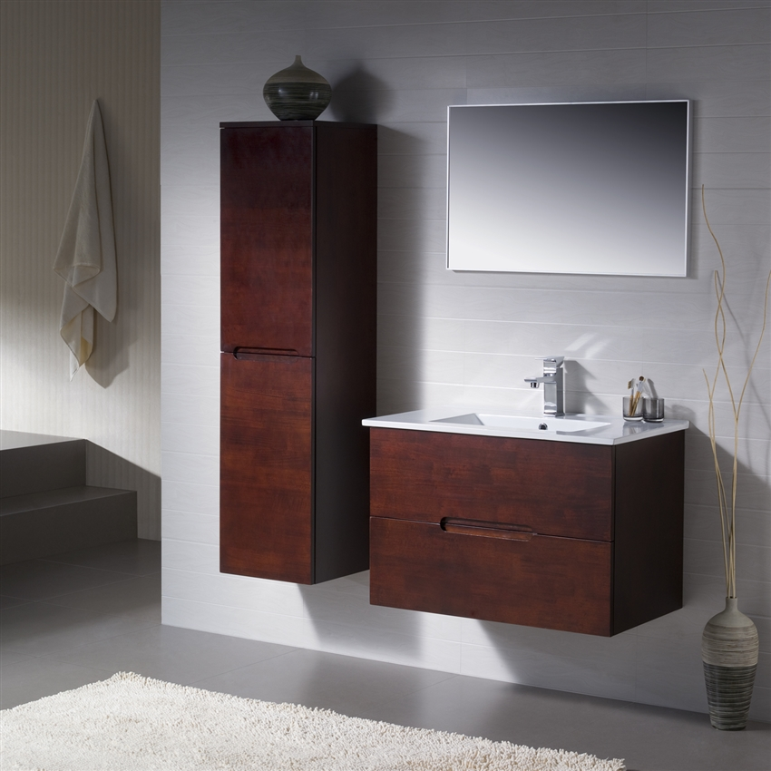 Wall Mounted Bathroom Vanity Vanity Elton With Porcelain Top - Bathroom supplies miami
