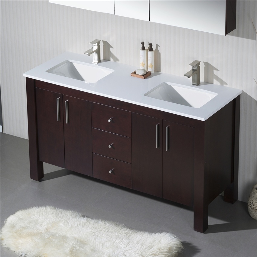 Wooden Double Cabinet Bathroom Sink Vanity Parsons 60 D With