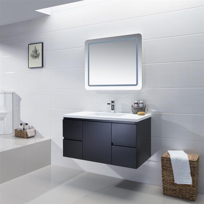 Adams 48'' SolidSurface Vanity Minimalist Modern Sink Vanity Magnificent Bathroom Drain Plumbing Minimalist