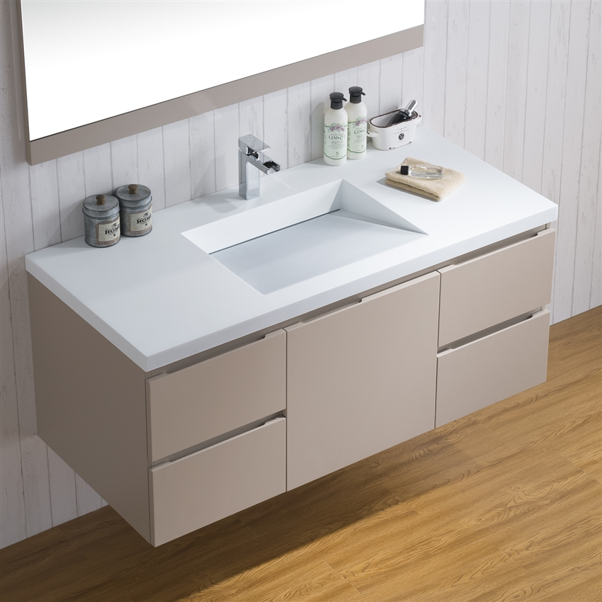 Infinity Sink: Vanity Adams 49-Inch Modern Infinity Sink Bathroom Counter