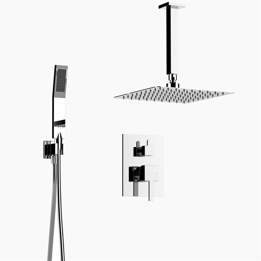 Inolav Davis Shower Set | Square Showerhead With Hose