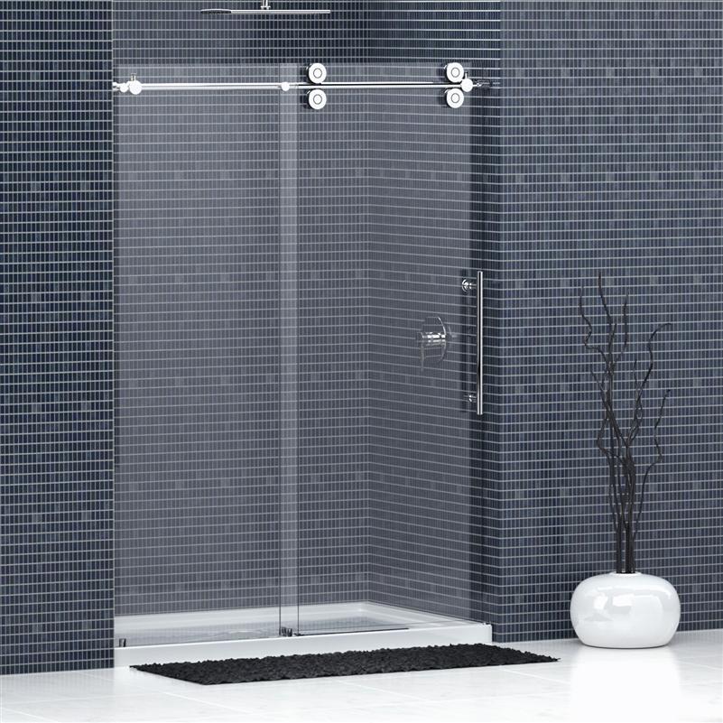Frameless Glass Shower Doors w/ Chrome or Nickel Sliding Hardware