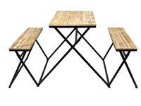 Industrial Rectangular Folding Table and Bench