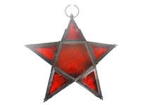 Red hanging star candle holder t light lantern