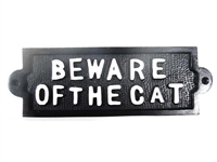 Cast iron sign, 'BEWARE OF THE CAT'