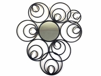 Abstract circle disc mirror  metal wall art