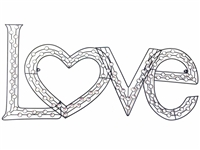 Jewel heart love sign metal wall art