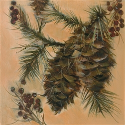 Two Pinecones and Berries by artist Marilynn Mason