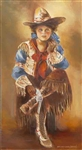 Cowgirl Sitting Rifle by artist Marilynn Mason