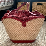 Brighton Marilyn Woven Straw Purse Red Bandanna Lining Drawstring