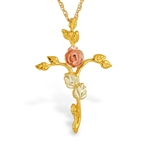 Black Hills Gold Cross Pendant & Necklace