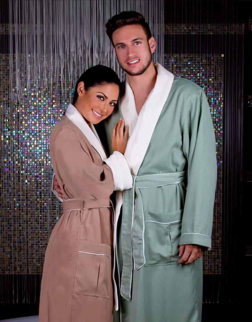 ultimate doeskin brushed microfiber bathrobe lined in terry his and hers bathrobes. Black Bedroom Furniture Sets. Home Design Ideas