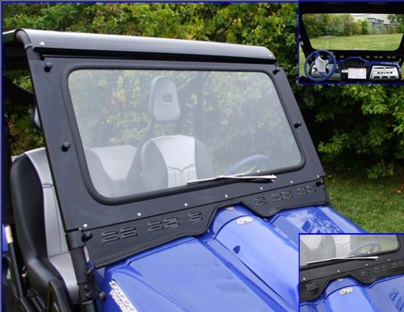 yamaha rhino laminated safety glass windshield with wiper