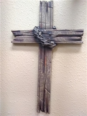 Brown Faux Wood & Barb Wire Cross