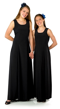 Scoop neck, sleeveless, floor length gown with Princess seams with tie backs and back zipper.