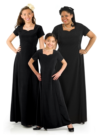 The Denise Floor Length Concert Dress is Adult and has a sweetheart neck, short sleeve, floor length gown with princess seams and is in Black, Royal Blue, Burgundy. Features back ties and back zipper.