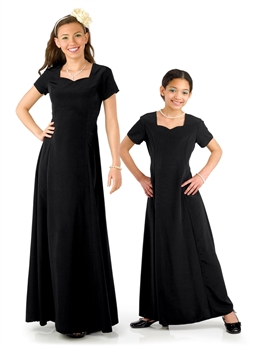 Denise Floor Length Concert Dress-Youth has a sweetheart neck, short sleeve, floor length gown with princess seams and is in black. Features back ties and back zipper. Made in classic poly peach skin fabric.  Style #103Y.