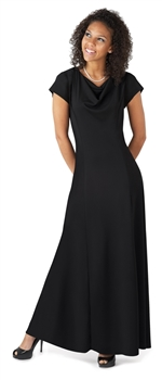 Pippa Performance Concert Dress is an adult dress with a Cowl neck, cap sleeve, floor length gown with princess seams and many other features. Style #113