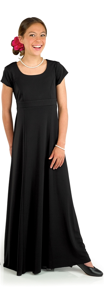 The Angelina Floor Length Gown has a Scoop neck, cap sleeve, floor length gown with set-in-front empire waistband. This dress features back ties and no back zipper.  This is a Youth sized dress.