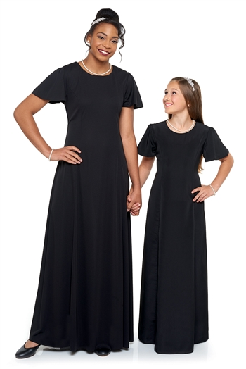 New! High scoop front neck, flutter sleeve, floor length gown with princess seams. Features back ties and back zipper. Made in wrinkle resistant, easy care matte jersey stretch knit.