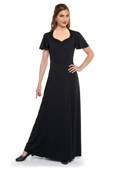 New! Heart shaped neck, flutter sleeve, floor length gown with princess seams. Features back ties and no back zipper. Made in wrinkle resistant, easy care matte jersey stretch knit.