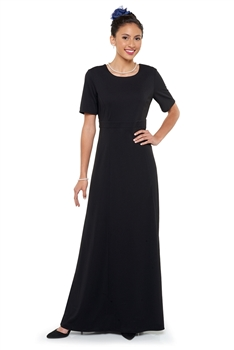 New! High scoop neck with V back neck, ½ sleeve, floor length gown with set-in-front empire waistband. Featuring fitting ties and no back zipper. Made in wrinkle resistant, easy care matte jersey stretch knit.