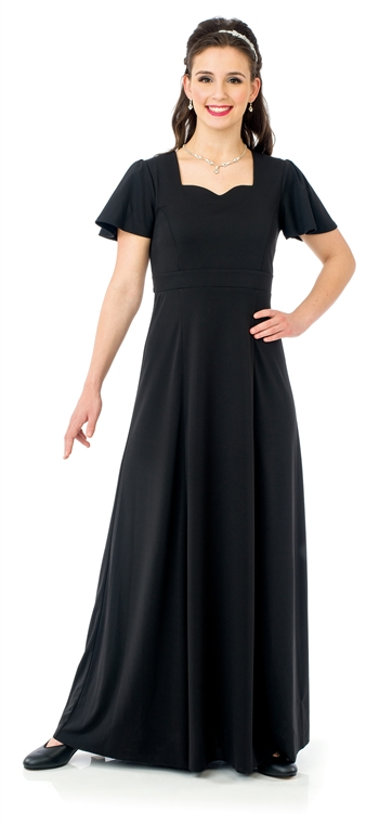 Joanna Sweetheart Neck Flutter Sleeve Floor Length Gown