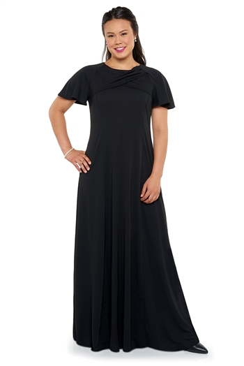 New! Gathered overlay at high front neck with V back neck, flutter raglan sleeve, floor length gown with princess seams. Features back ties and no back zipper. Made in wrinkle resistant, easy care matte jersey stretch knit.