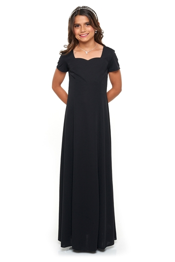 Sweetheart neck, short sleeve, floor length gown with princess seams. Features back ties and no back zipper. Made in wrinkle resistant, easy care matte jersey stretch knit.