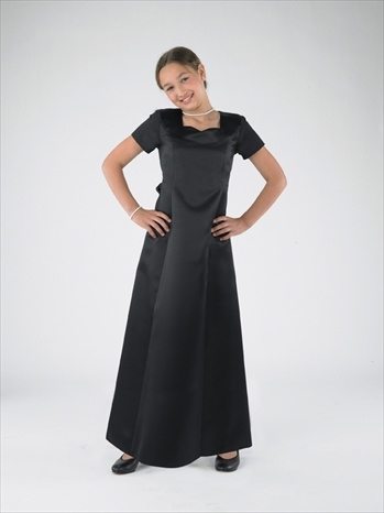 High performance satin gown with sweetheart neckline and princess seams. Back zipper and back ties.