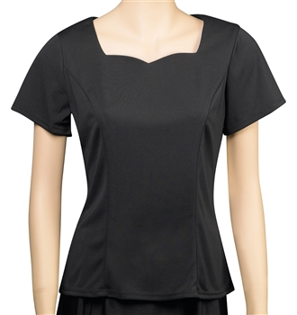 Daphne Short Sleeve Sweetheart Neckline Blouse - Youth