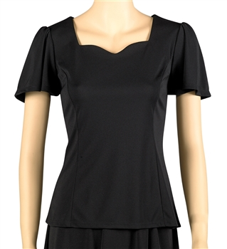 Amelia Flutter Sleeve Sweetheart Neckline Blouse- Youth