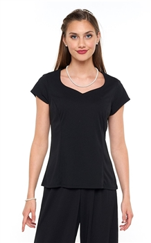 Britney Cap Sleeve Heart Shaped Neckline Blouse