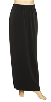 Floor length pull-on straight skirt with back slit in wrinkle resistant, easy care matte jersey stretch knit with full elastic waist.