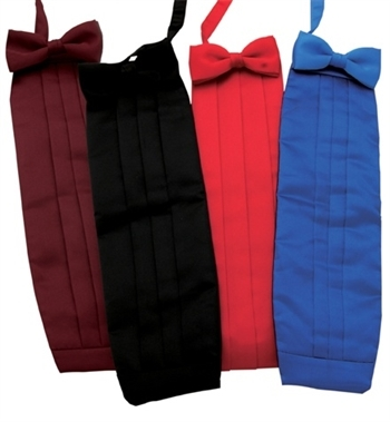 Poly Satin Cummerbunds & Bow Tie Set