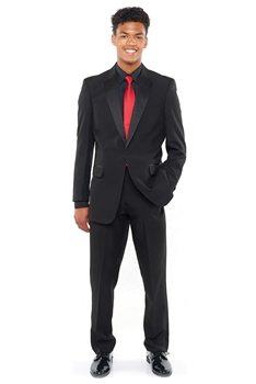 Tuxedo Package that Includes a Polyester Tuxedo Coat, Polyester Adjustable Tuxedo Trousers, Laydown Tuxedo Shirt in Black (pleated or non-pleated), and a Color Poly Satin Neck Tie.