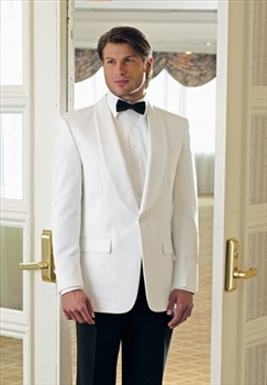 White One Button Shawl Dinner Jacket