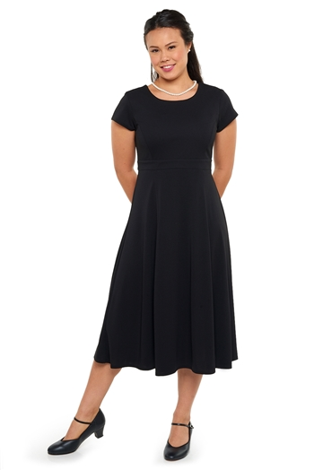 New! High scoop neck with V back neck, cap sleeve, show choir dress with set-in-front empire waistband. Featuring fitting ties and no back zipper. Made in wrinkle resistant, easy care matte jersey stretch knit.