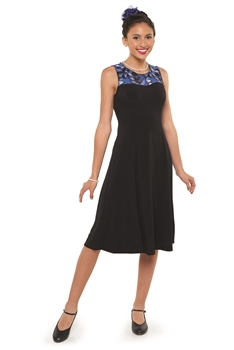 High scoop neck, sleeveless show choir dress. Contrast yoke in printed stretch knit and body in black spandex stretch knit.