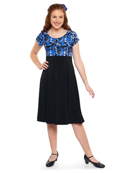 Scoop neck, cap sleeve show choir dress. Empire bodice in printed stretch knit and skirt in black spandex stretch knit. Features back ties and no back zipper.
